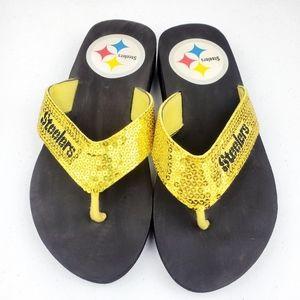NFL Pittsburgh Steelers Sequined Thong Flip Flops